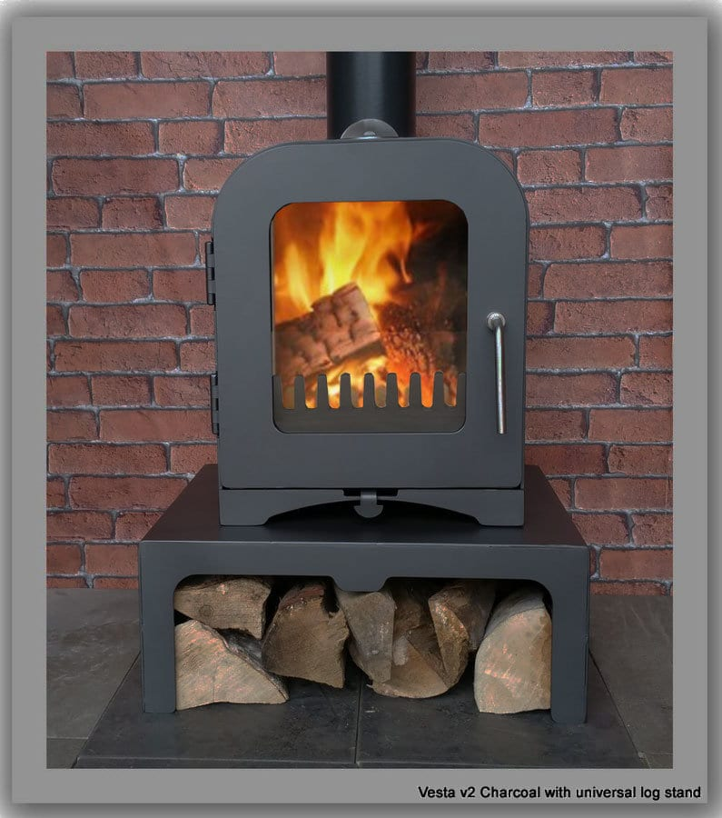 Woodburning Stove Vesta V2 2kw With Studio Log Stand