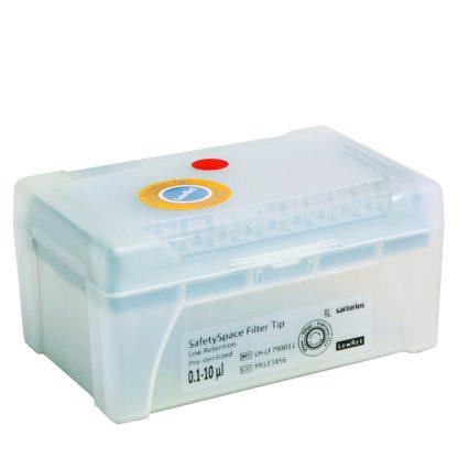10mkl LH LF790011 e1587301694133 - Наконечники 10 мкл для дозаторов Sartorius BIOHIT SafetySpace, 31.5 мм, стерильные с фильтром в штативе 10х96 шт.