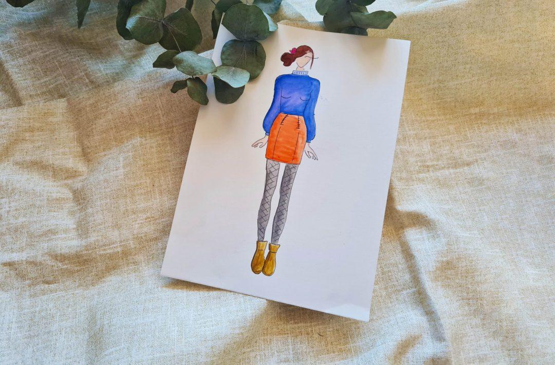 Croquis jupe Arbanaise avec des zips