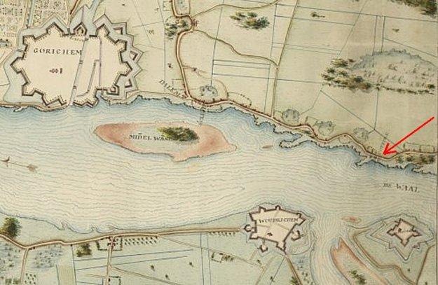 Dijkpost Hercules bij Dalem met Gorinchem detail Charles Fuzçij d'Ablincourt rond 1795 vergroot met pijl