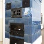 Stielofen, blau, stammt aus 100 jährigem Bauernhaus
