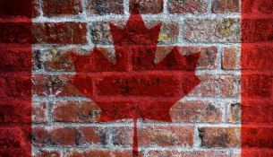 Canadian Flag on Brick Background