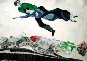 "М. Шагал, ""Над городом"" (Витебск, 1914-1918)"