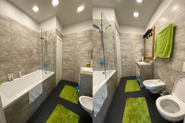 stylish bedroom with bathtube