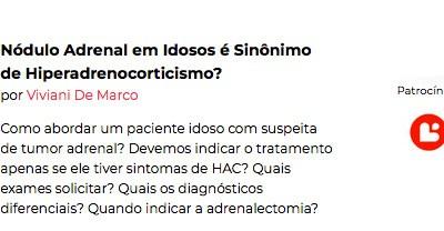 Nódulo Adrenal em Idosos é Sinônimo de Hiperadrenocorticismo?