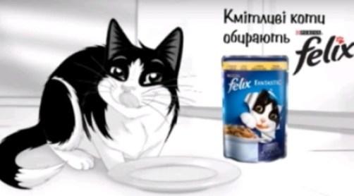 Довольный котик кушает Феликс