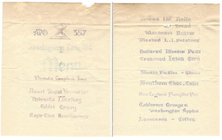 Tenth Army Thanksgiving Menu 1944 2 WM