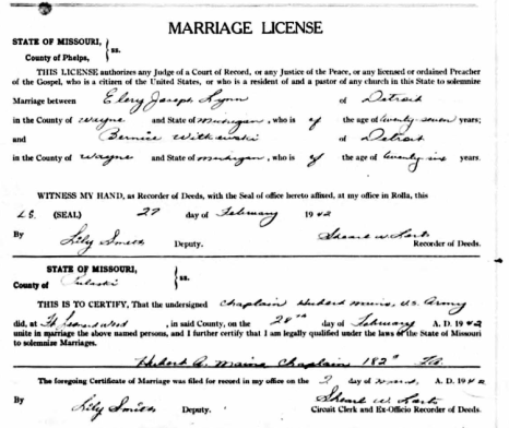 Ellery Joseph Lynn & Bernice Witkowski Marriage Record