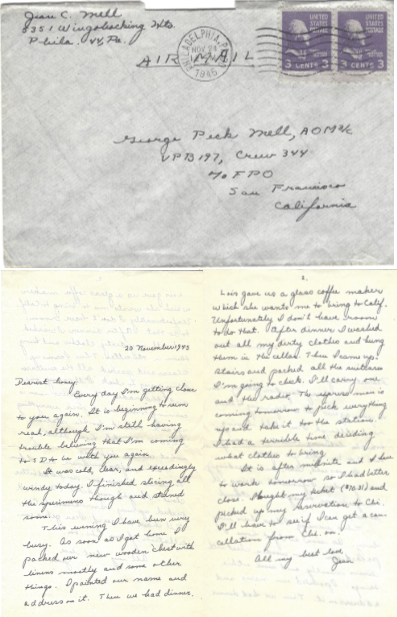 Letter from Jean Craig Mell to her husband, George Peck Mell.