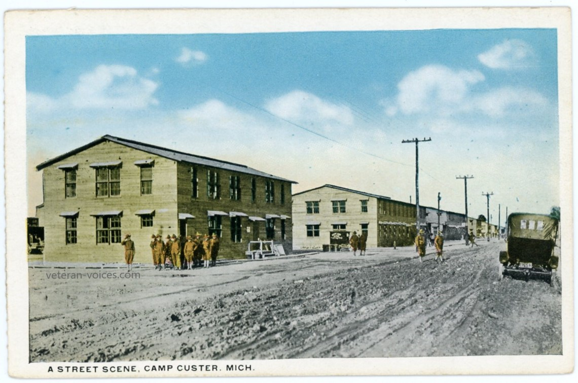 A street scene of Camp Custer, Michigan during World War I