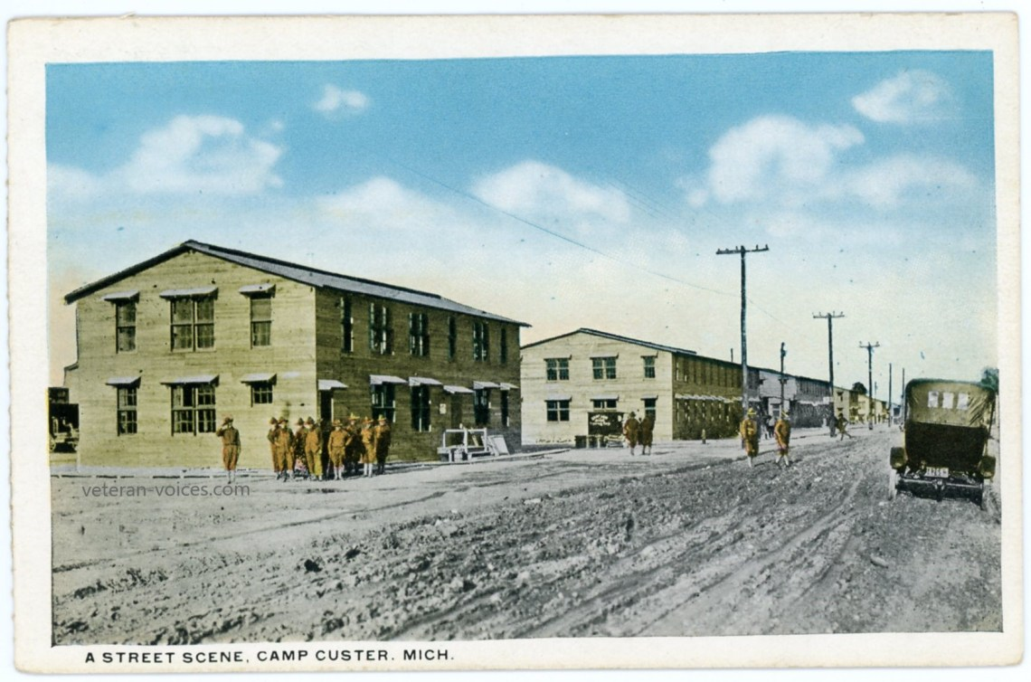A street scene of Camp Custer, Michigan during World War I