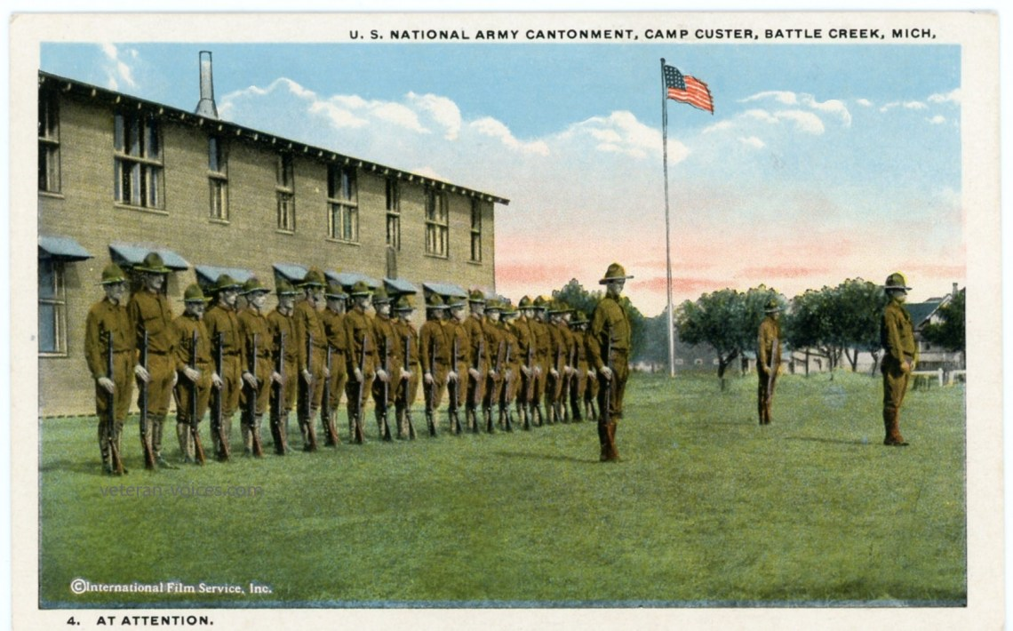 """At Attention,"" Camp Custer, Battle Creek, Michigan, World War I"