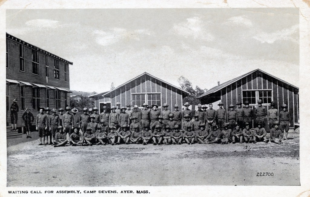 """Waiting Call for Assembly, Camp Devens, Ayer, Mass."" World War I"