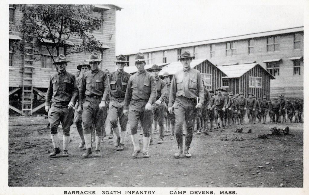 """Barracks, 304th Infantry, Camp Devens, Mass."" World War I"
