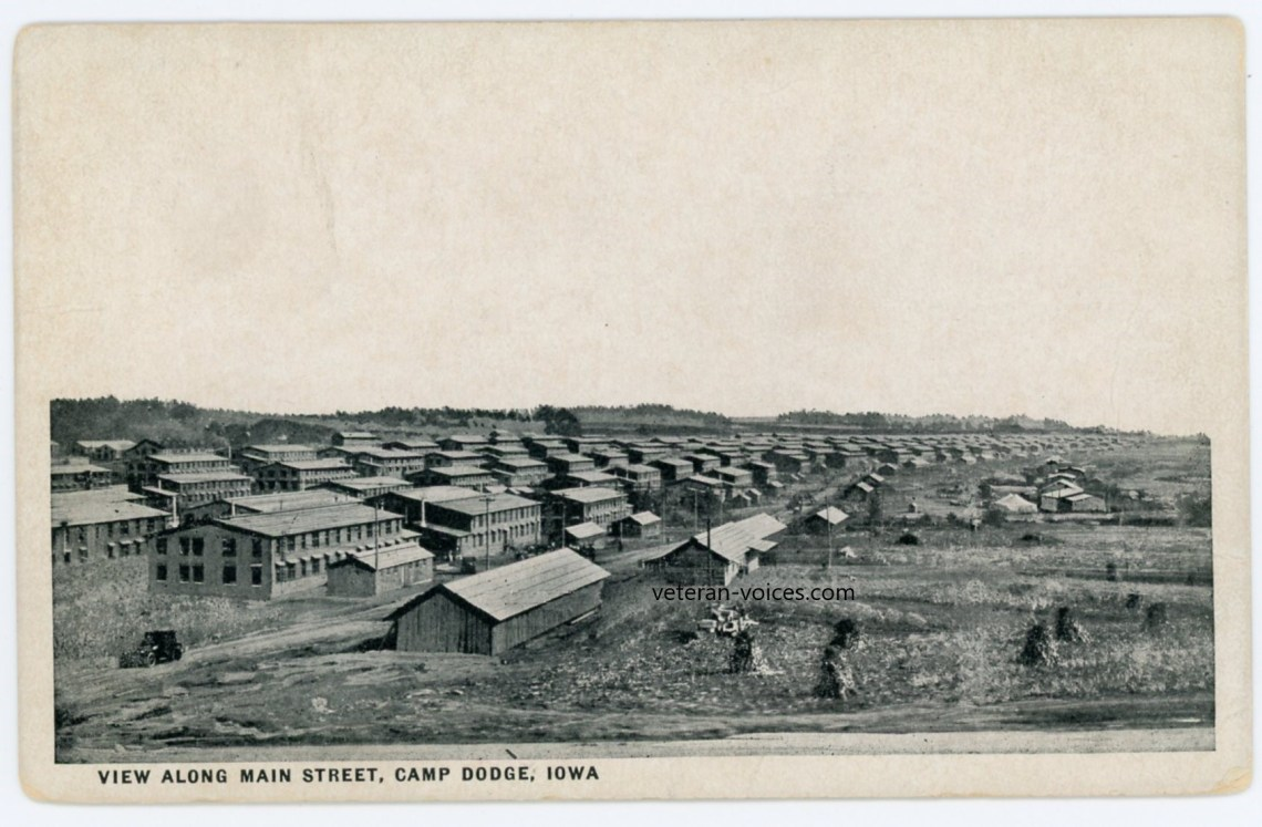 """View Along Main Street, Camp Dodge, Iowa"" World War I"