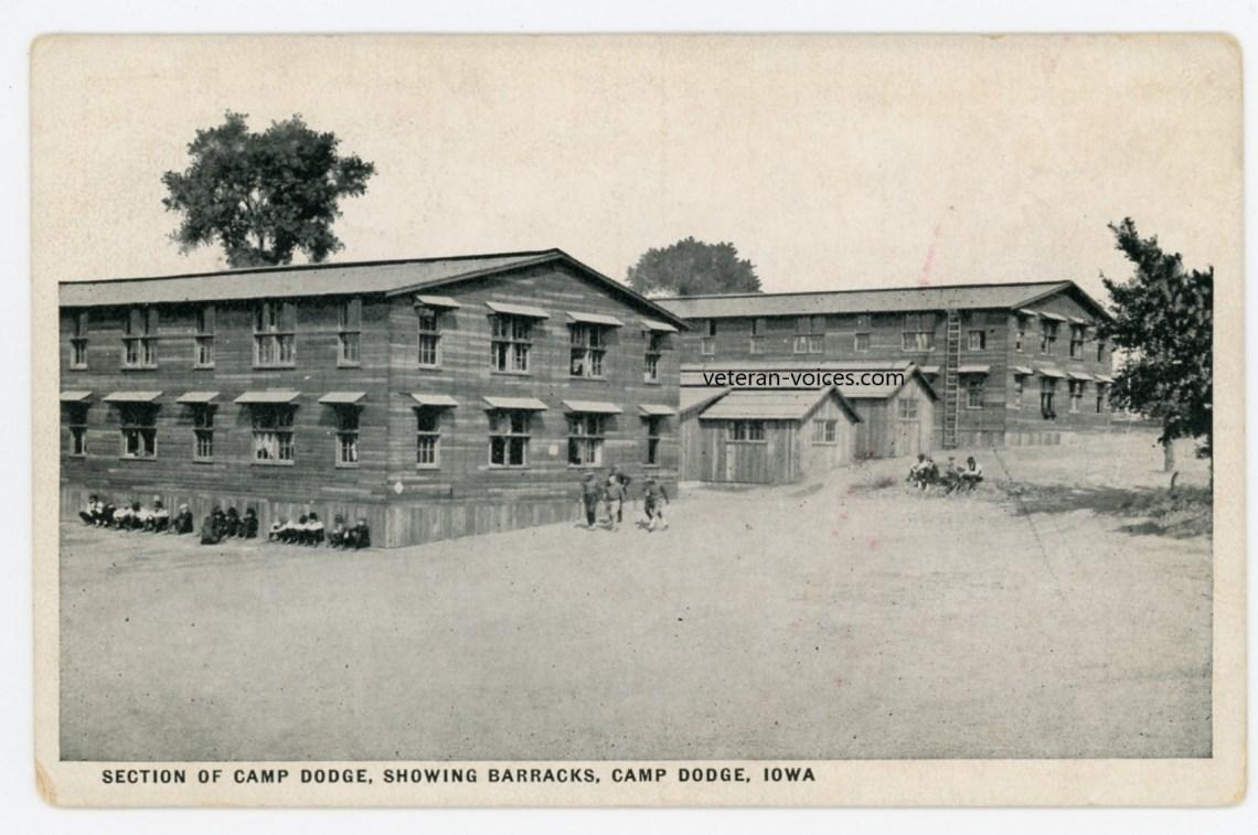 """Section of Camp Dodge, Showing Barracks, Camp Dodge Iowa"" World War I"
