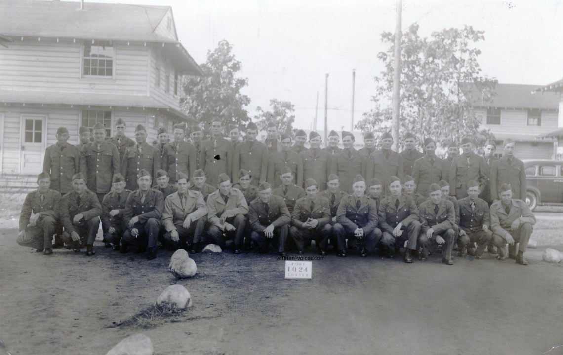 """Fort Custer 1024"" - A training platoon or company real photo postcard from World War II."