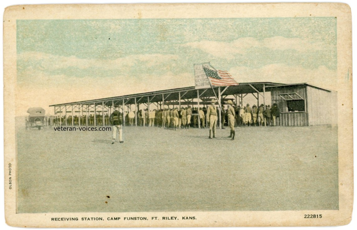 """Receiving Station, Camp Funston, Ft. Riley, Kans."" World War I"