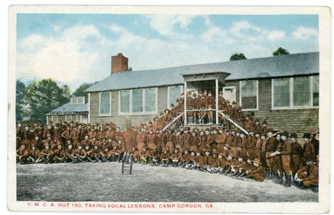 """Y.M.C.A. Hut 150 - Taking Vocal Lessons. Camp Gordon, GA"" World War I"