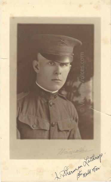 A photograph of Pvt. John Sherman Lathrop, Battery F, 149th Field Artillery Battalion, 42nd Infantry Division. World War I. Veteran-Voices.com