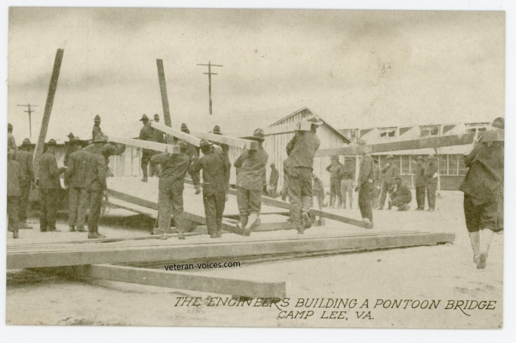 """The Engineers Building A Pontoon Bridge, Camp Lee, VA"""