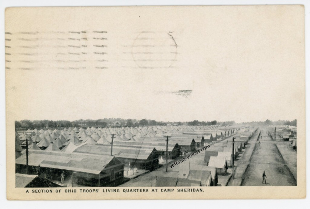 """""""A Section of Ohio Troops' Living Quarters at Camp Sheridan [Montgomery, Alabama]"""""""