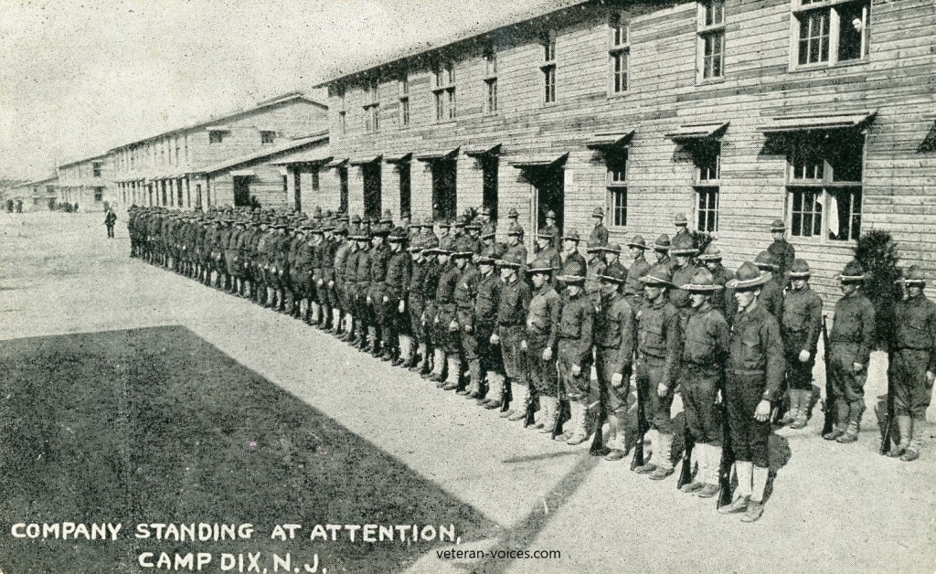 Company Standing at Attention at Camp Dix, New Jersey