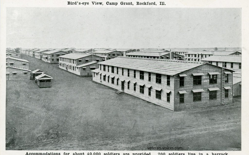 """Accommodations for about 40,000 soldiers are provided, 200 soldiers live in a barrack."" Camp Grant, Rockford, Illinois"