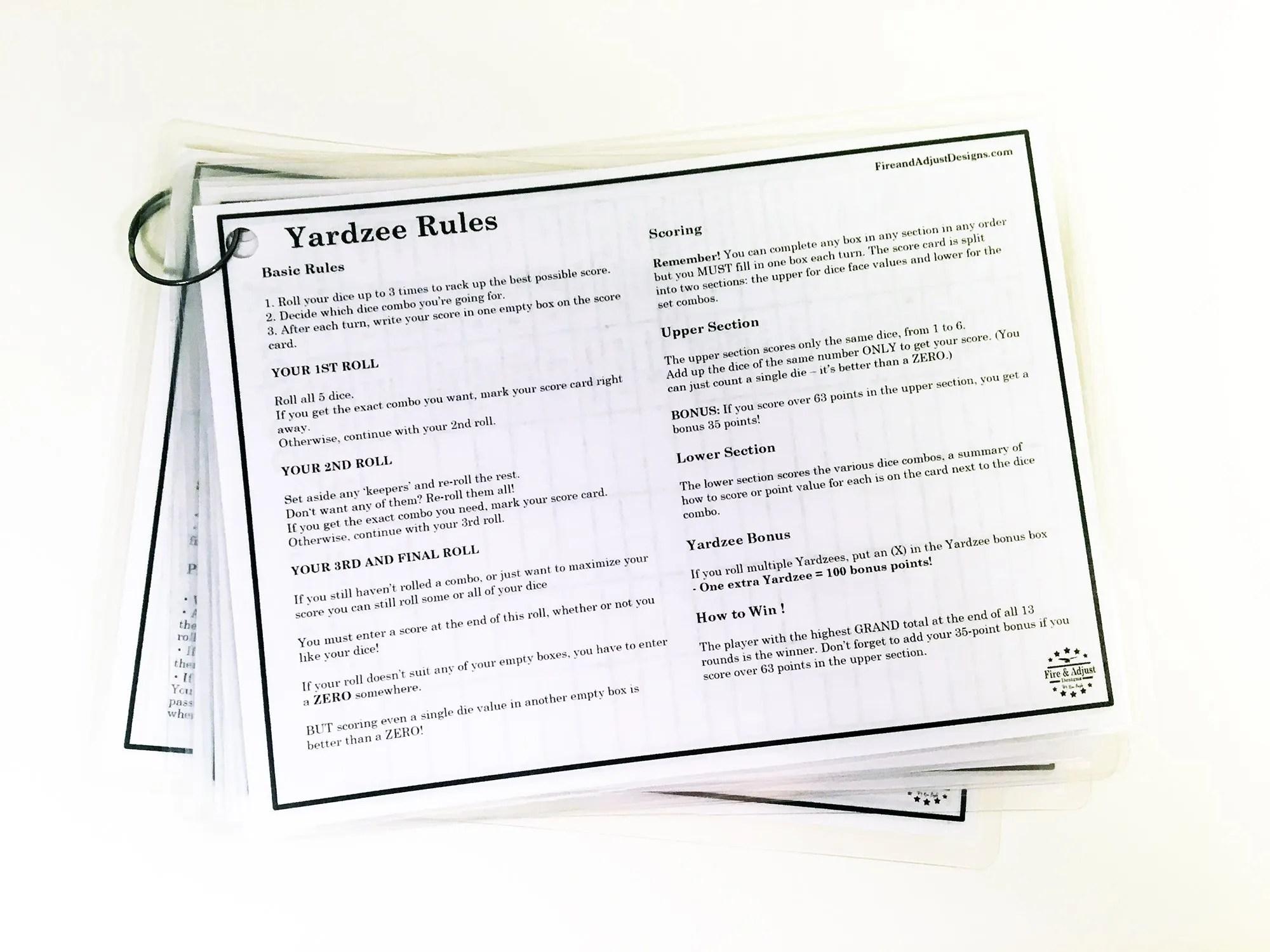 Yardzee And Yarkle 5 X 7 Yard Dice Dry Erase Score Cards
