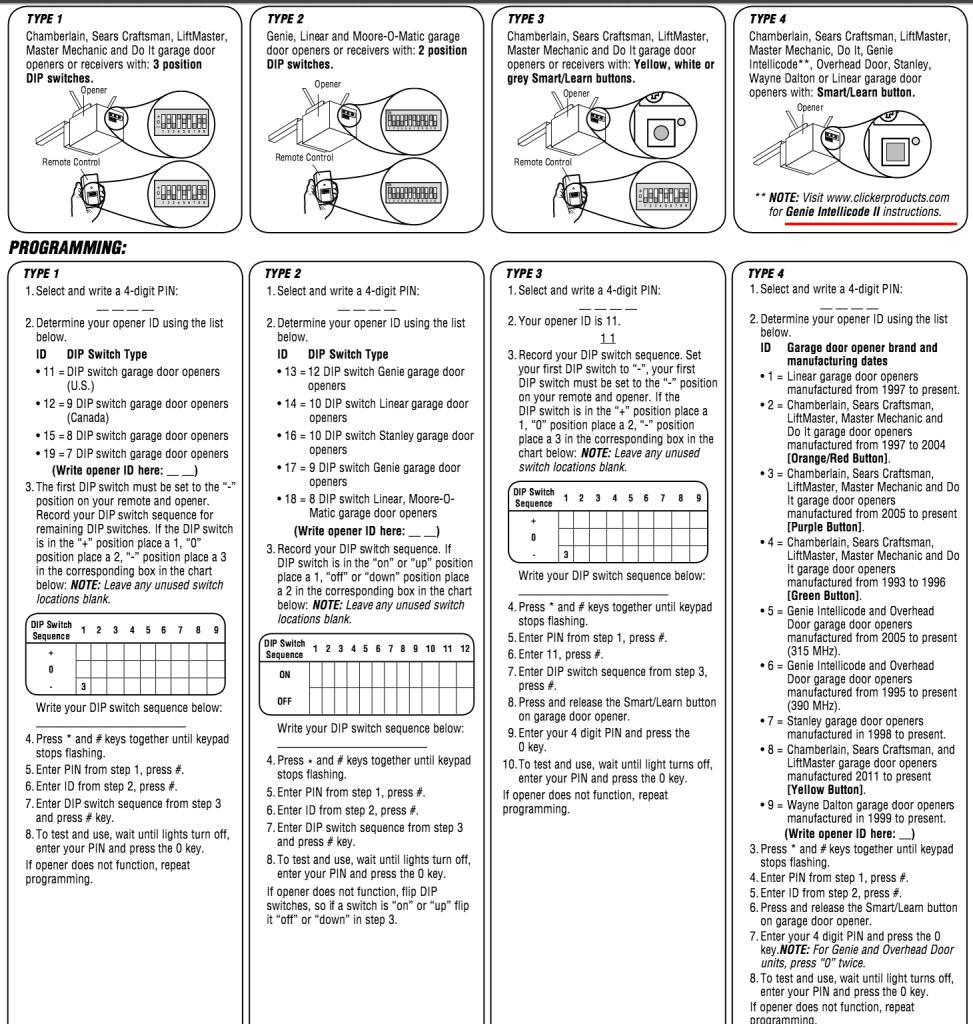 Image Result For How To Program A Clicker Universal Garage Door Opener