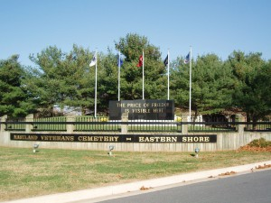 Eastern Shore Veterans Cemetery Entrance Flags Displayed
