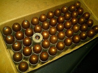 This box of .45 cal. pistol rounds is from World War II and is very much live.