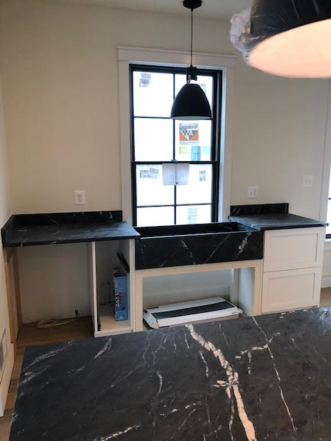 Black frame window and matching counters