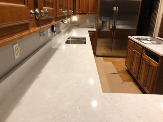 Glossy white counter top