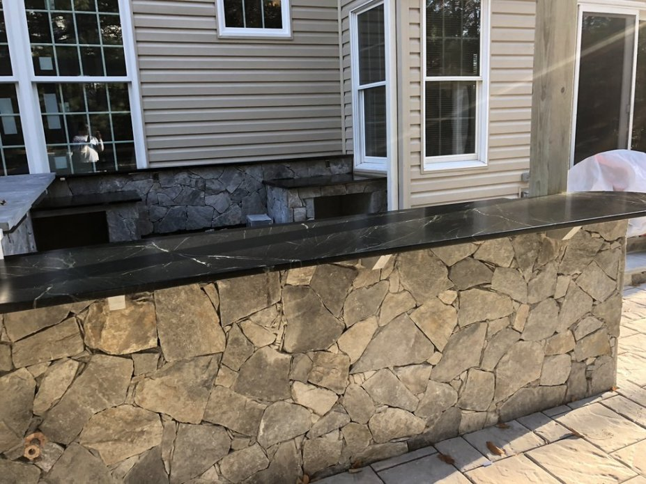 stone mosaic outdoor counter