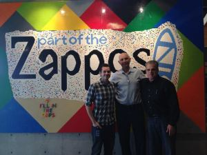 "At Zappo's new home in Downtown Las Vegas with Michael Foley, Managing Editor, ""Zip"" and with Kobi Shani, Veterans Village. We toured and had extensive and positive discussions about Zappo's, Veterans Village, Downtown and the future of our city. Zappo's has done an amazing job at our former City Hall. Special thanks to Michael and Zappo's for caring about our Veterans"