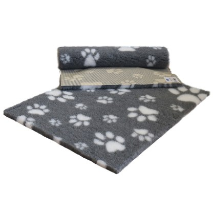 Vetfleece Non-Slip Multi Paws Grey with White Paws