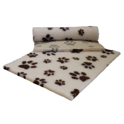 Vetfleece Non-Slip Multi Paws Magnolia with Brown Paws