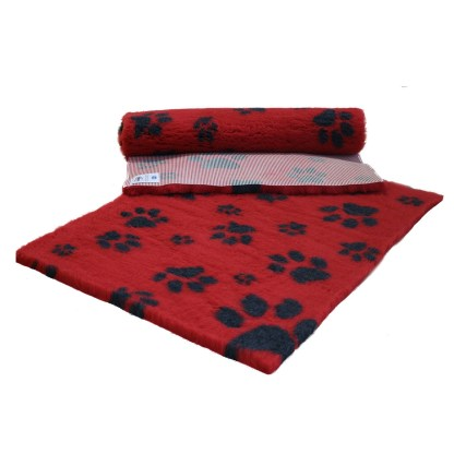 Vetfleece Non-Slip Multi Paws Red with Charcoal Paws
