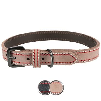 Luxury Leather Dog Collar Medium Cream Coloured