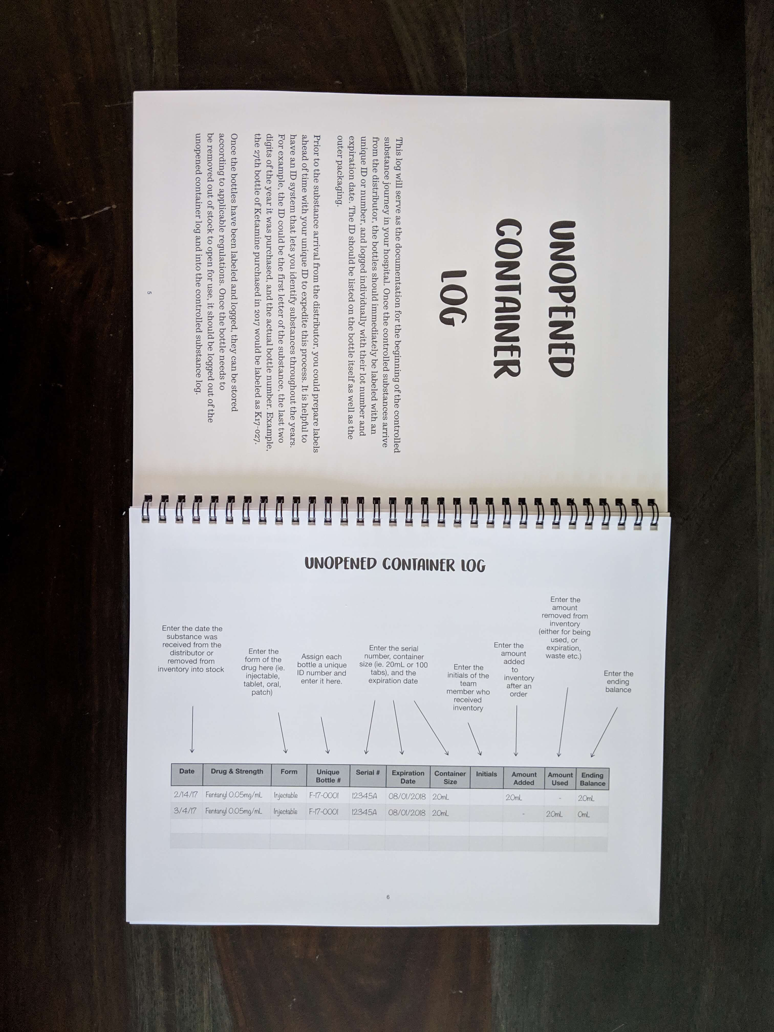 controlled substance log