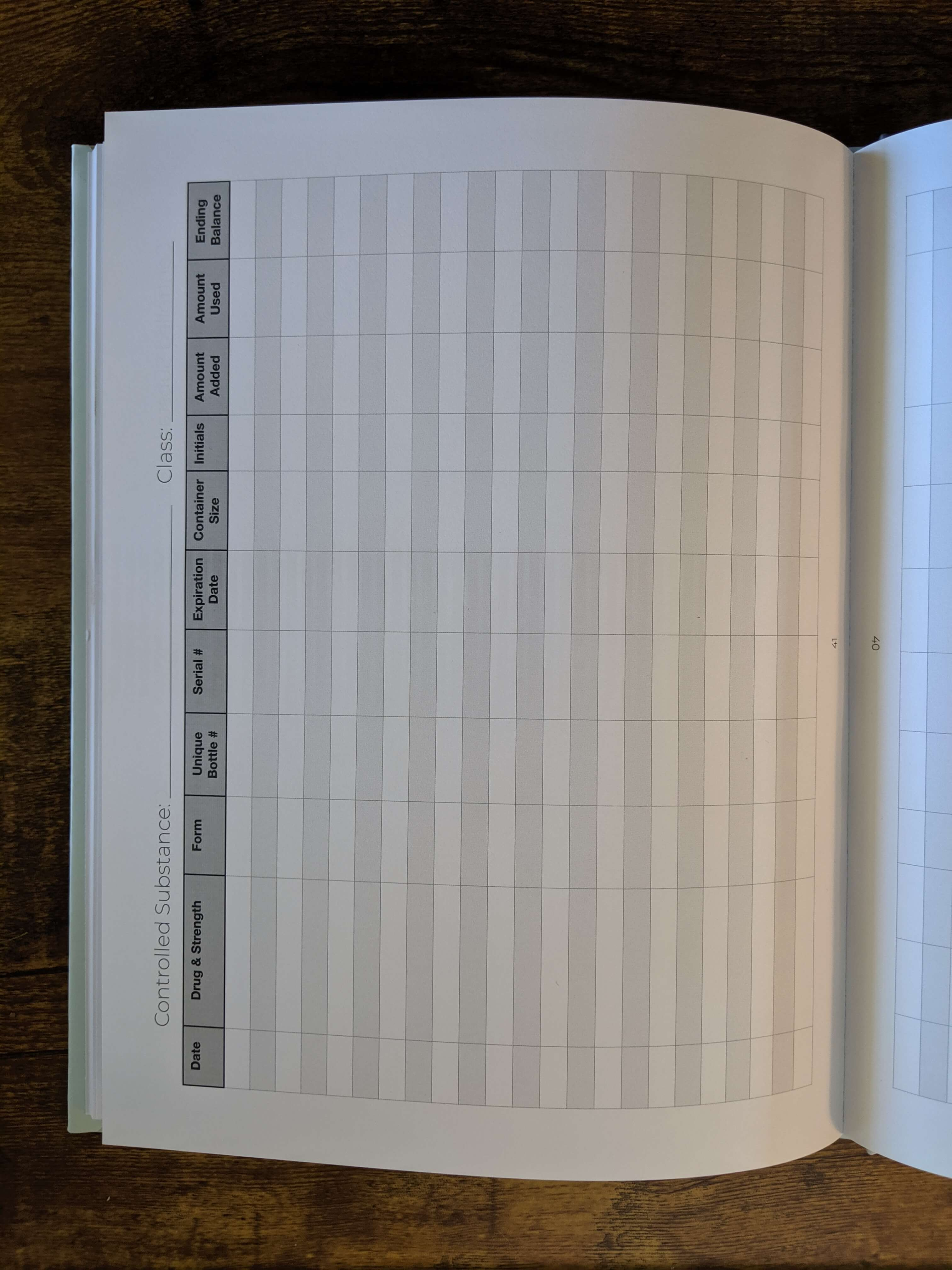 hardcover controlled substance log