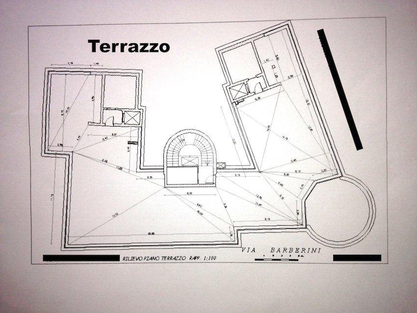 PLANIMETRIA RILIEVO TERRAZZO ATTICO ROMA CENTRO