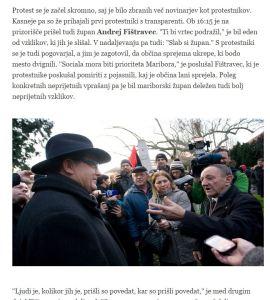 Večer Fištravec protest poročilo