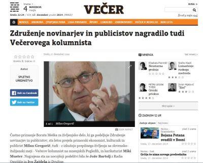 ZNP nagrada Gregorič Večer