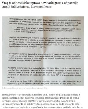 Odpoved novinarki Delo Airbeletrina