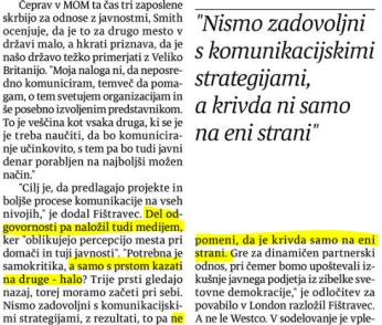 Mediji so krivi Fištravec piar Večer izsek