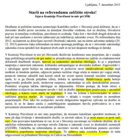 SŠK izjava referendum ateizem