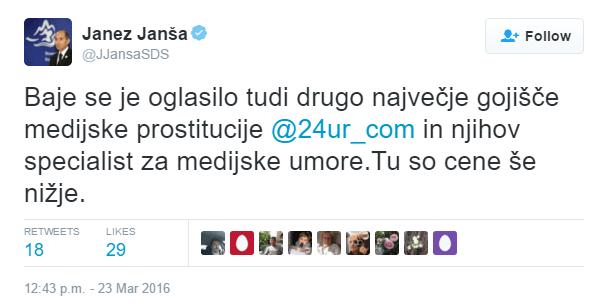 Janša POP TV tvit prostitucija