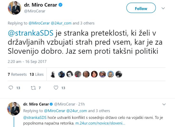 Cerar tvit SDS stranka strah